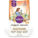 Halo Grain Free Natural Dry Cat Food - Senior Cat Recipe - Premium and Holistic Chicken & Chicken Liver - 6 Pound Bag…