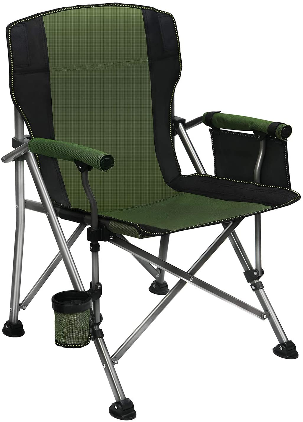 Folding Camping Chair Oversized Collapsible Camp Chair with Cup Holder and Removable Storage Bag, Heavy Duty Support 350 LBS, Portable Lawn Chair for Outdoor Camp, Picnic, Travel, Fishing