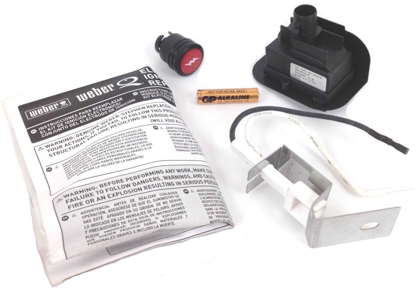Weber 80475 Gas Grill Q120 Q220 Replacement Electronic Igniter Kit by Weber