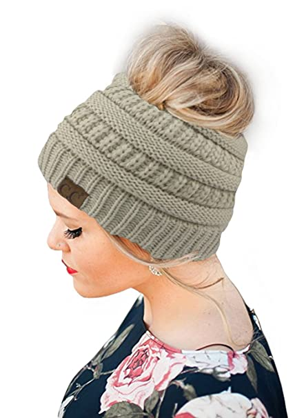 92cd9ef1 CC Knit Messy Bun Ponytail Soft Stretch Winter Beanie Tail Hat (Beige):  Amazon.ca: Clothing & Accessories