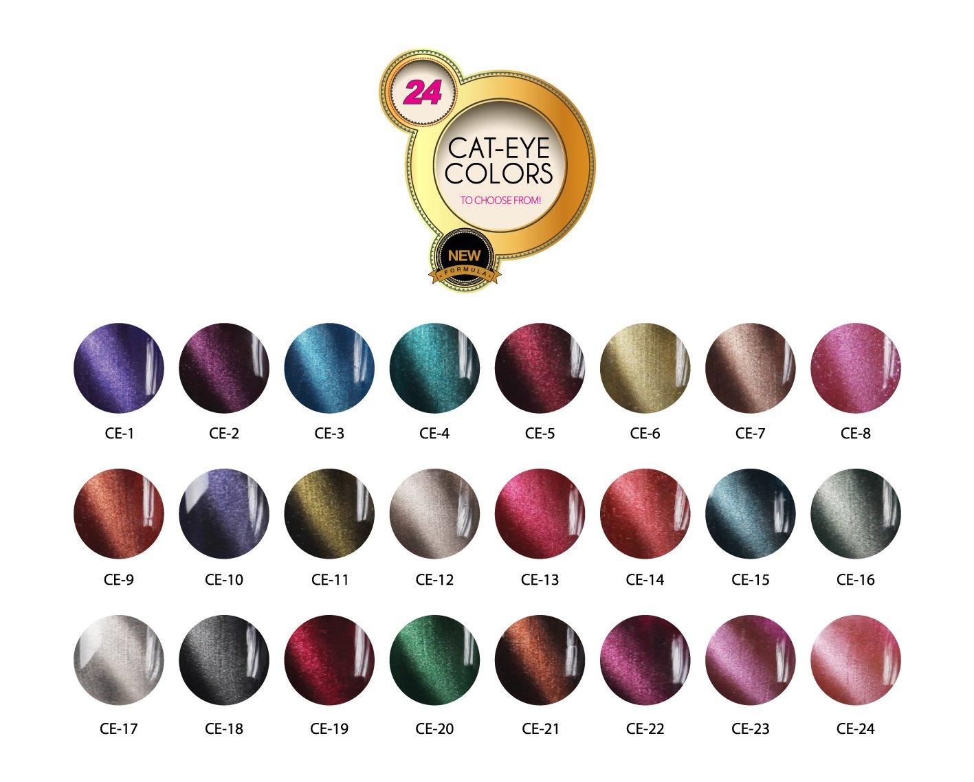 JOYA MIA Full Set 24 bottles of Magnetic Cat Eye Soak Off UV or LED Gel Nail Polish 15mL