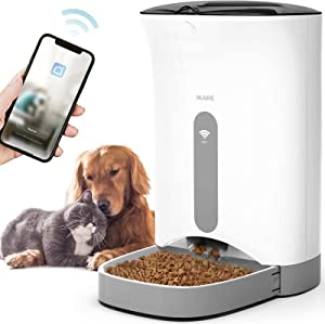 IKARE Automatic Pet Feeder Automatic Cat Feeder Programmable Food Dispenser for Cats and Dogs with Distribution Alarms, Portion Control, and Programmable Timer for 4 Meals per Day, 20 Cups Capacity.