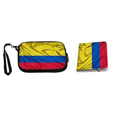 Rikki Knight Colombia Flag Design Neoprene Clutch Wristlet with Matching Passport Holder
