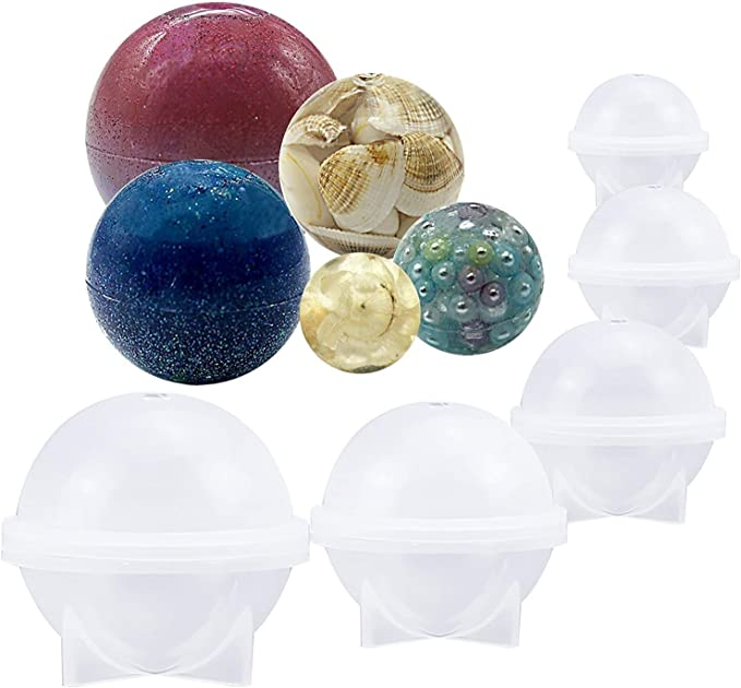 15PCS Sphere Silicone Epoxy Molds Round Ball Jewelry Candle Resin Mould Tool US