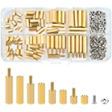 Sutemribor M2.5 Male Female Hex Brass Spacer Standoff Screw Nut Assortment Kit (180Pcs)