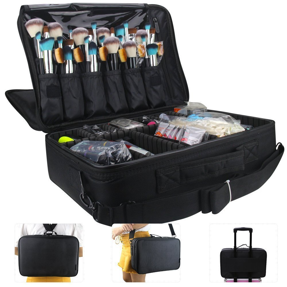 MONSTINA Large Capacity Makeup Case 3 Layers Cosmetic Organizer Brush Bag Makeup Train Case Makeup Artist Box for Hair Curler Hair Straightener Brush Set and Cosmetics 16.5x12x5.5 (L-Black)