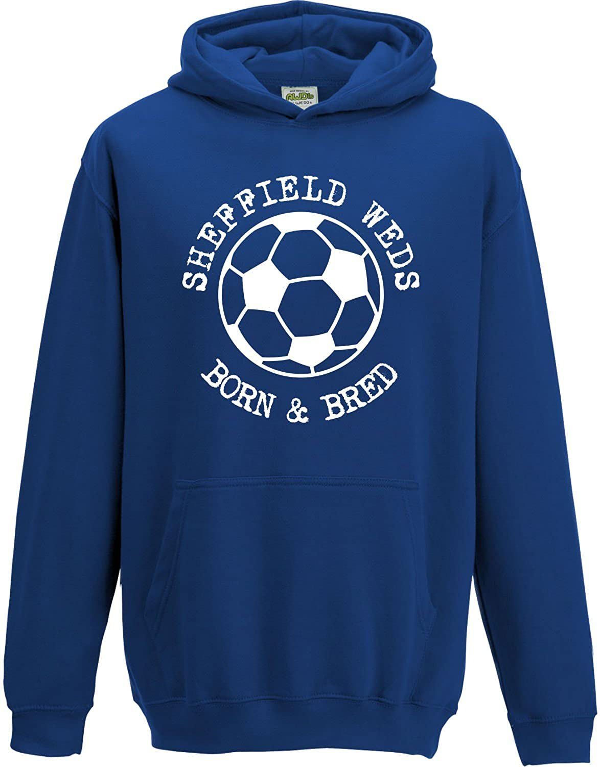 Hat-Trick Designs Sheffield Wednesday Football Baby/Kids/Childrens Hoodie Sweatshirt-Royal Blue-Born & Bred-Unisex Gift