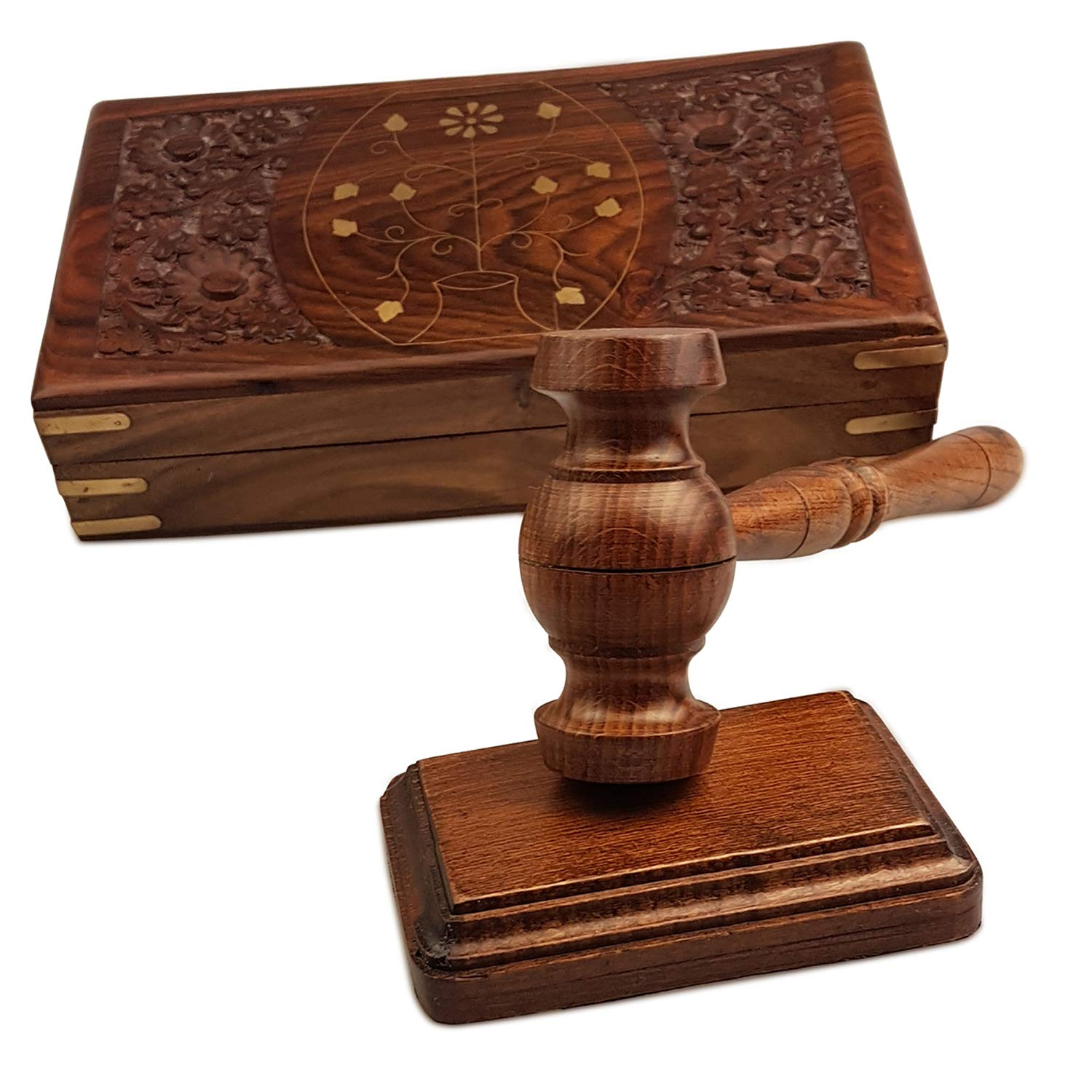 Special Hand Carving Work Wood Gavel Boxed Set - Rustic Gavel Gift Box Set Walnut Wooden Used - in Box Gavel and Sound Round Block Set Perfect for Lawyer Student Judge Auction Sale Meeting Best Idea