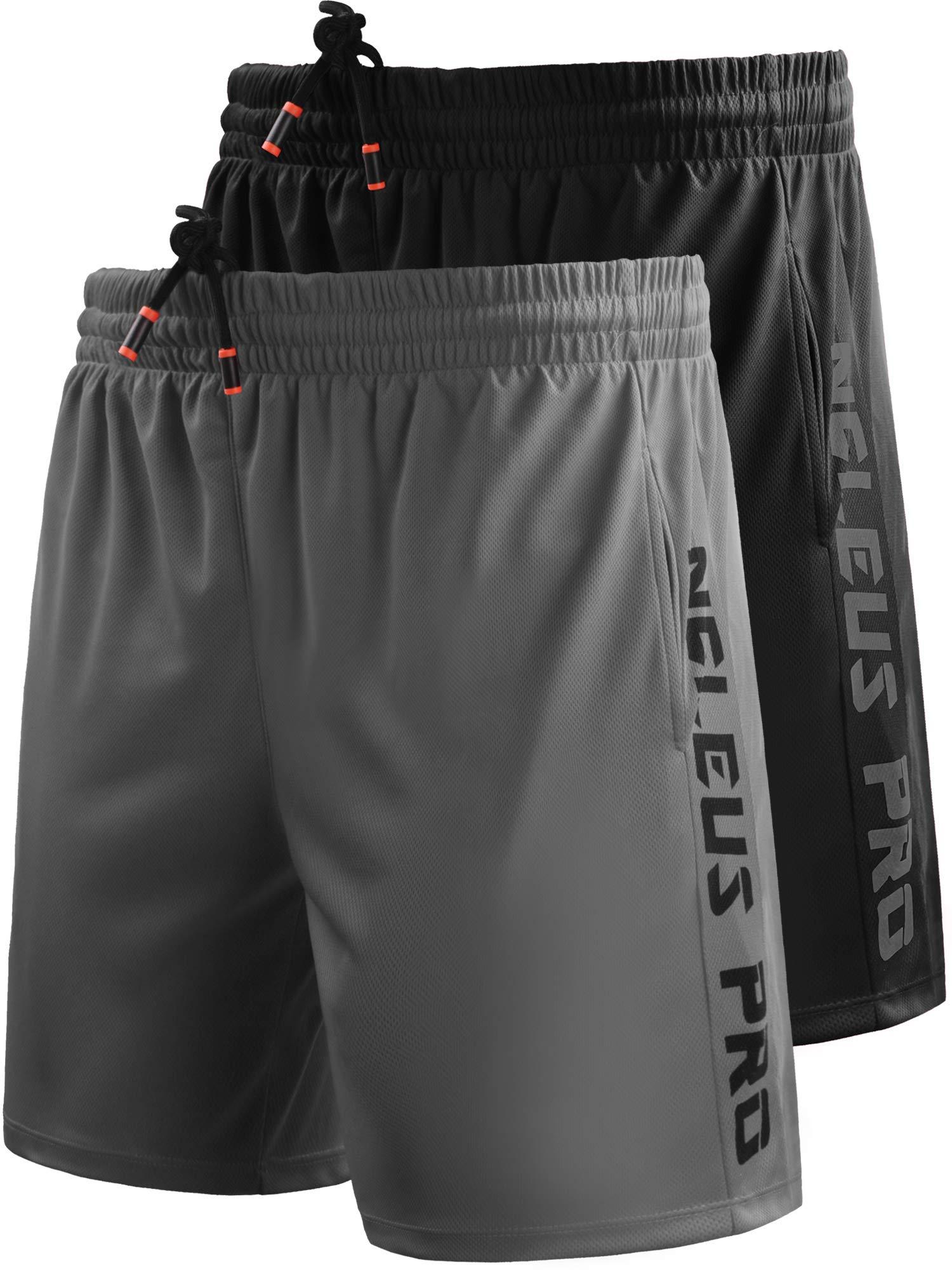 Neleus Men's 7'' Workout Running Shorts with Pockets,6056,2 Pack,Black,Grey,US L,EU XL by Neleus