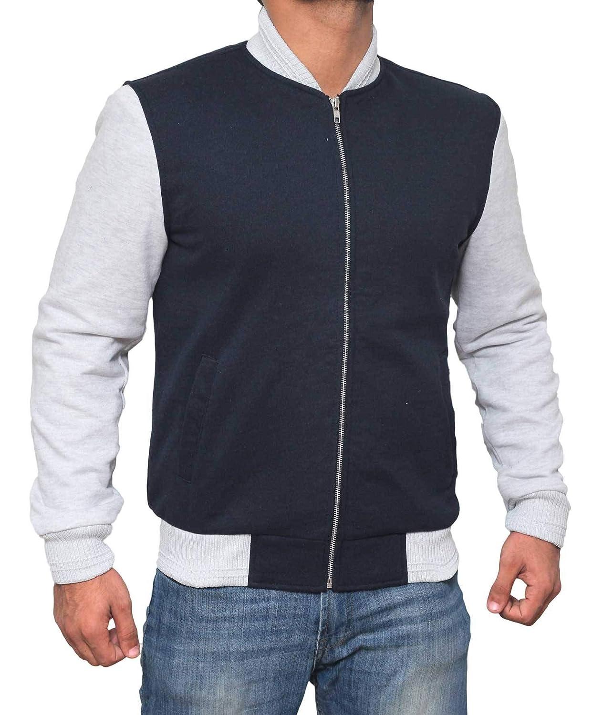 Decrum White and Navy Blue Varsity Jacket Men 1001624-PP