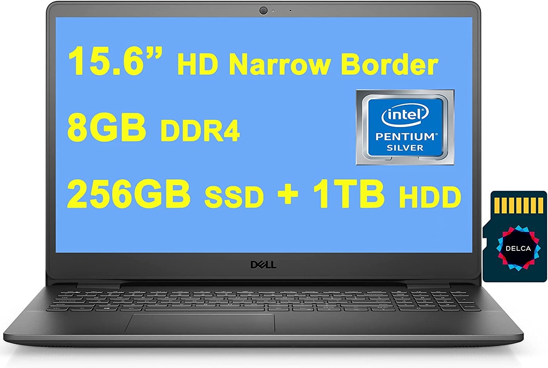 "Dell 2021 Premium Inspiron 3000 3502 15 Laptop I 15.6"" HD Narrow Border Display I Intel 4-Core Pentium Silver N5030 I 8GB DDR4 256GB SSD + 1TB HDD I USB 3.2 Win10 Black + Delca 32GB MicroSD Card"