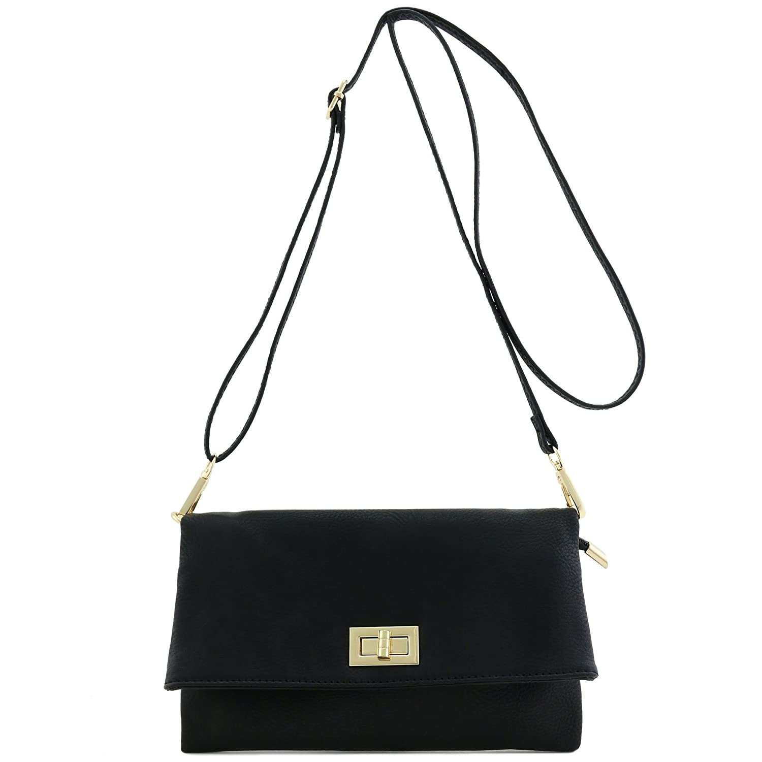 Black Double Compartment Turnlock Envelope Clutch Crossbody Bag