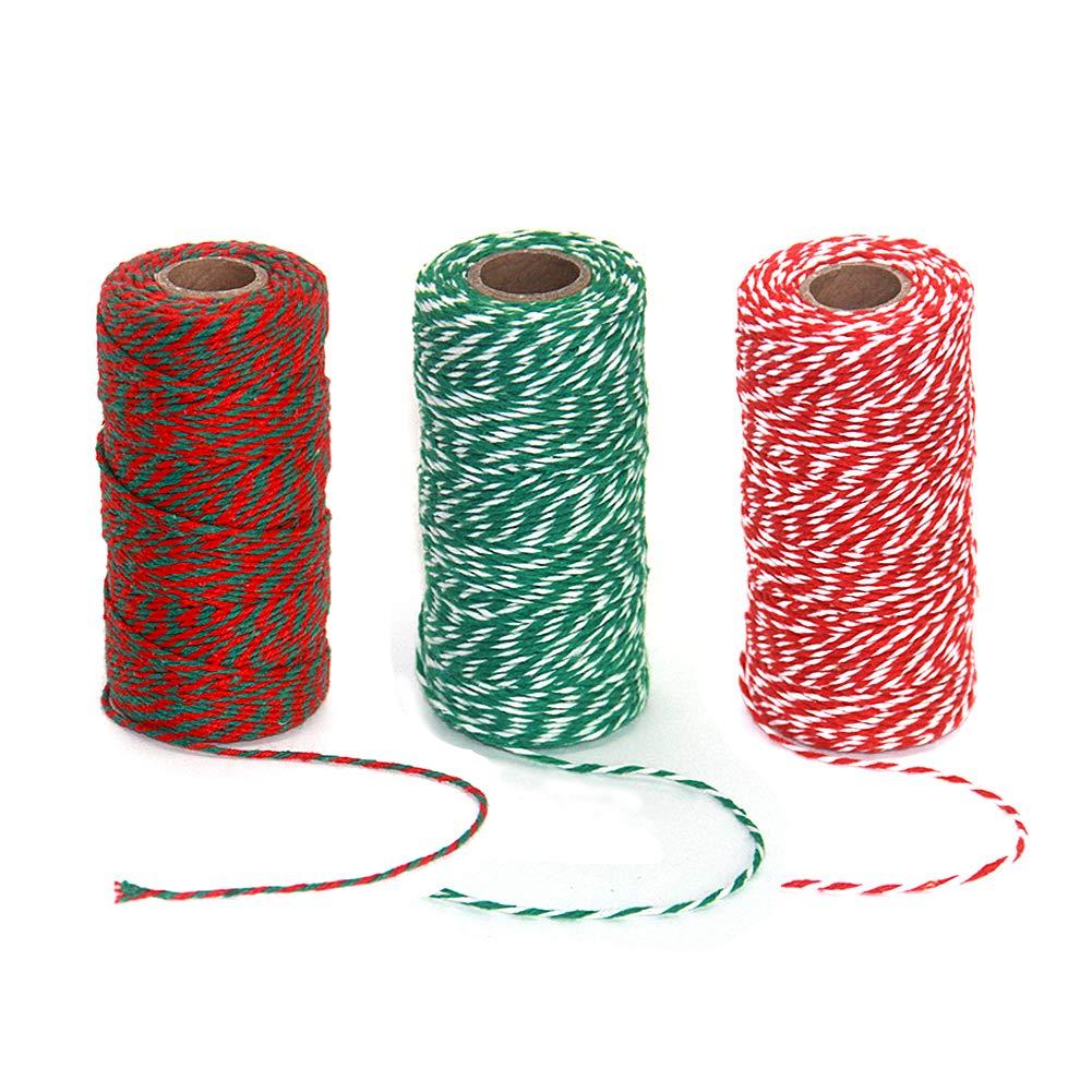 in Cotone Resistente Enhigh 3 Rotoli di spago Natalizio Decorazioni Natalizie Confezioni Regalo per lavori Artigianali Fai da Te