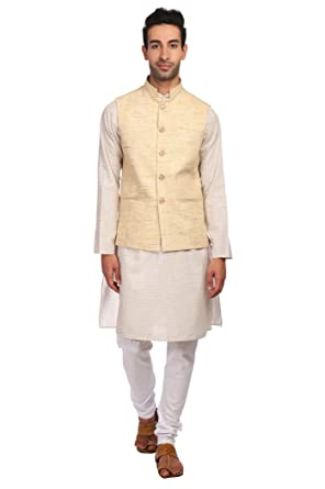 5388e6f978 WINTAGE Men's KhadiBeige Nehru Jacket Waistcoat and Linen Cotton Rich Cream Kurta  Pajama Indian Ethnic Set