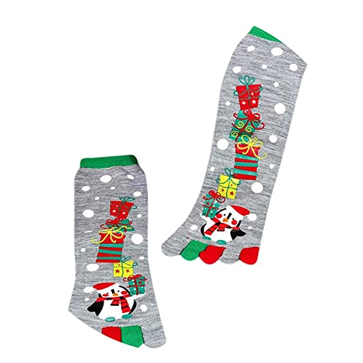 Funny Christmas Winter Warm Kawaii Printed Five Finger Comfortable Soft Socks,A