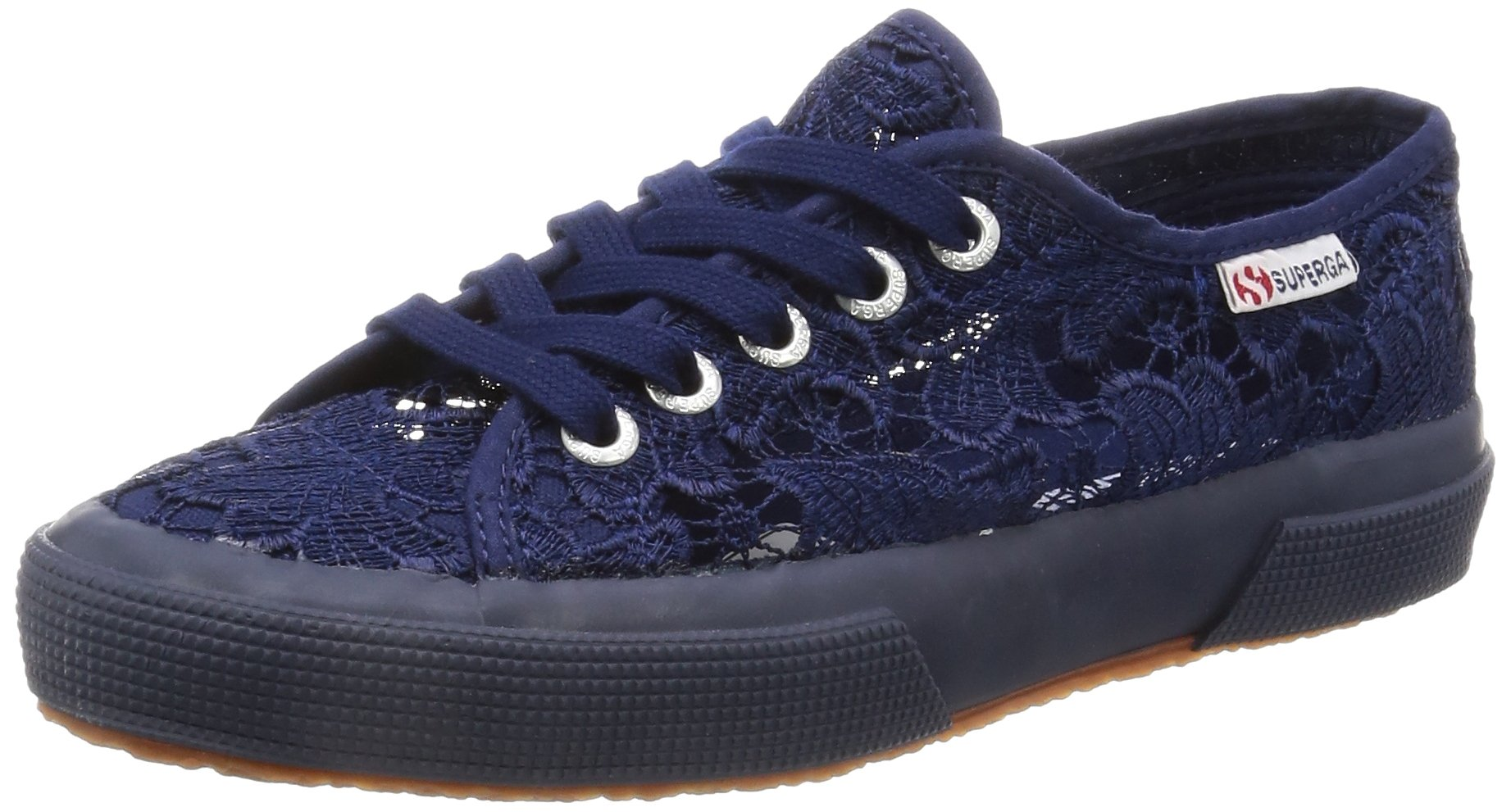 Superga Womens 2750 Macrame Lace Low Top Casual Summer Fashion Sneakers - Navy - 7.5