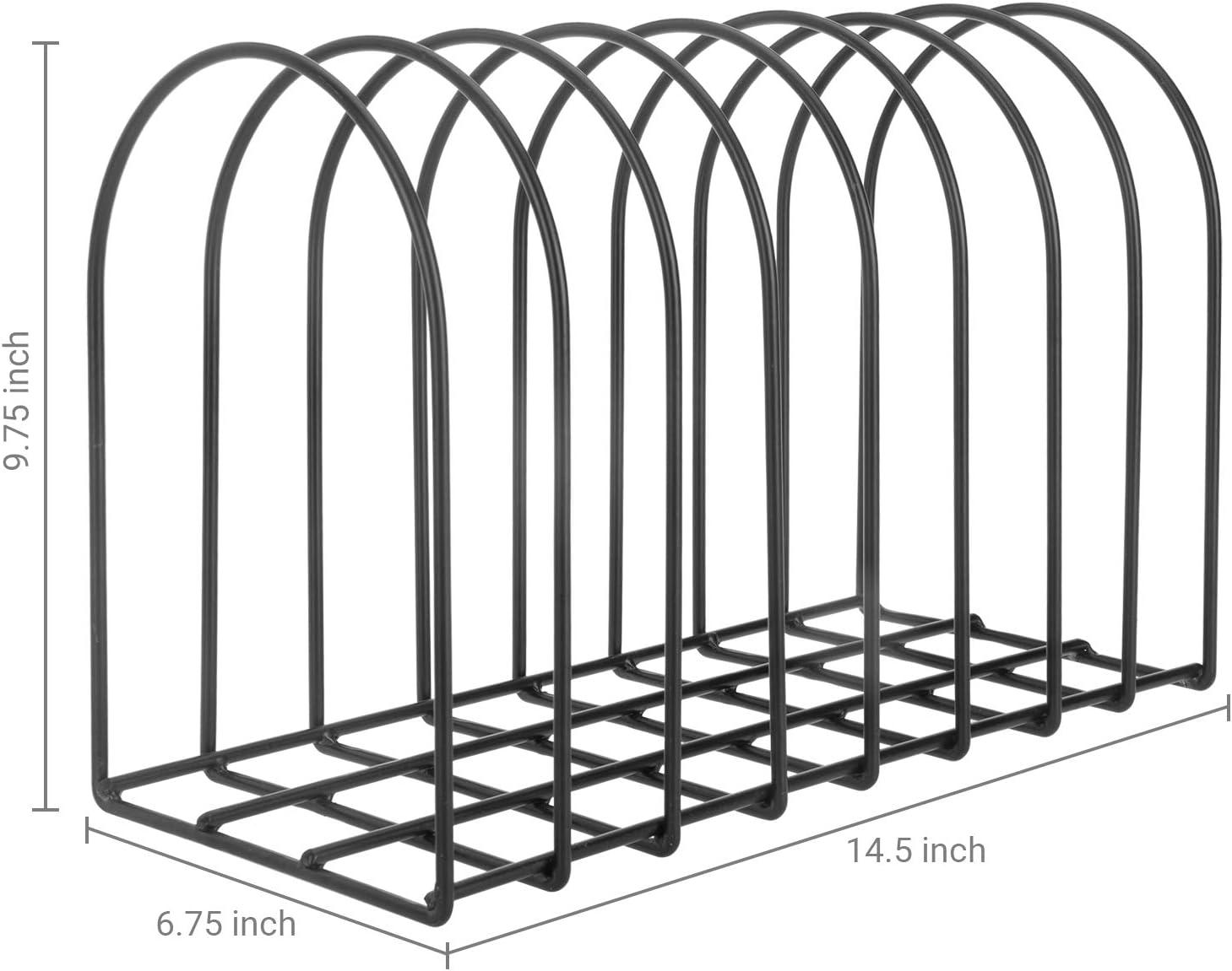 MyGift 8-Slot Matte Black Metal Wire Arch Tabletop File Sorter//Magazine Holder Desktop Storage Organizer Rack