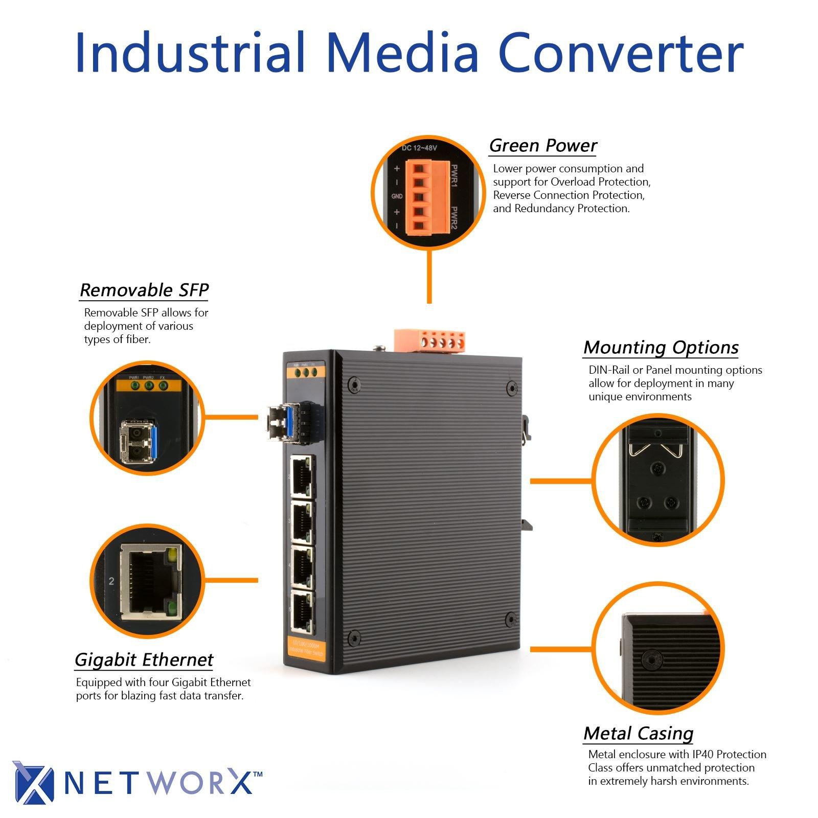 Networx Industrial Gigabit Ethernet Fiber Media Converter - 1000Base-LX - LC Singlemode, 20km, 1310nm, 4 port by Networx