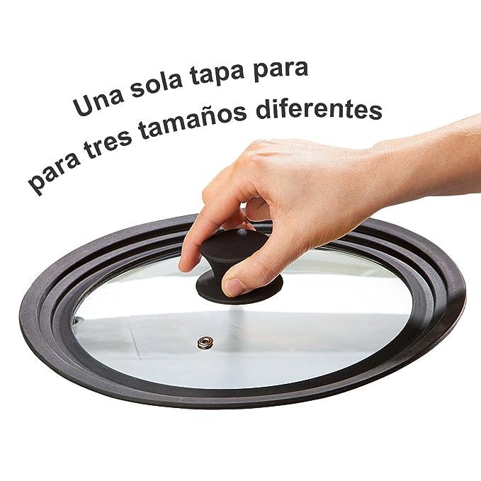Magefesa - Tapa de sartén, ollas, cacerolas multidiámetro universal adaptable con borde de silicona y cristal con válvula de vapor para diámetro de ...
