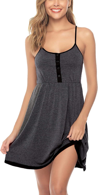 Sykooria Vestido de Mujer Vestido de Lactancia camis/ón de algod/ón,Ropa de Dormir Suave con Botones para Embarazadas y Lactancia