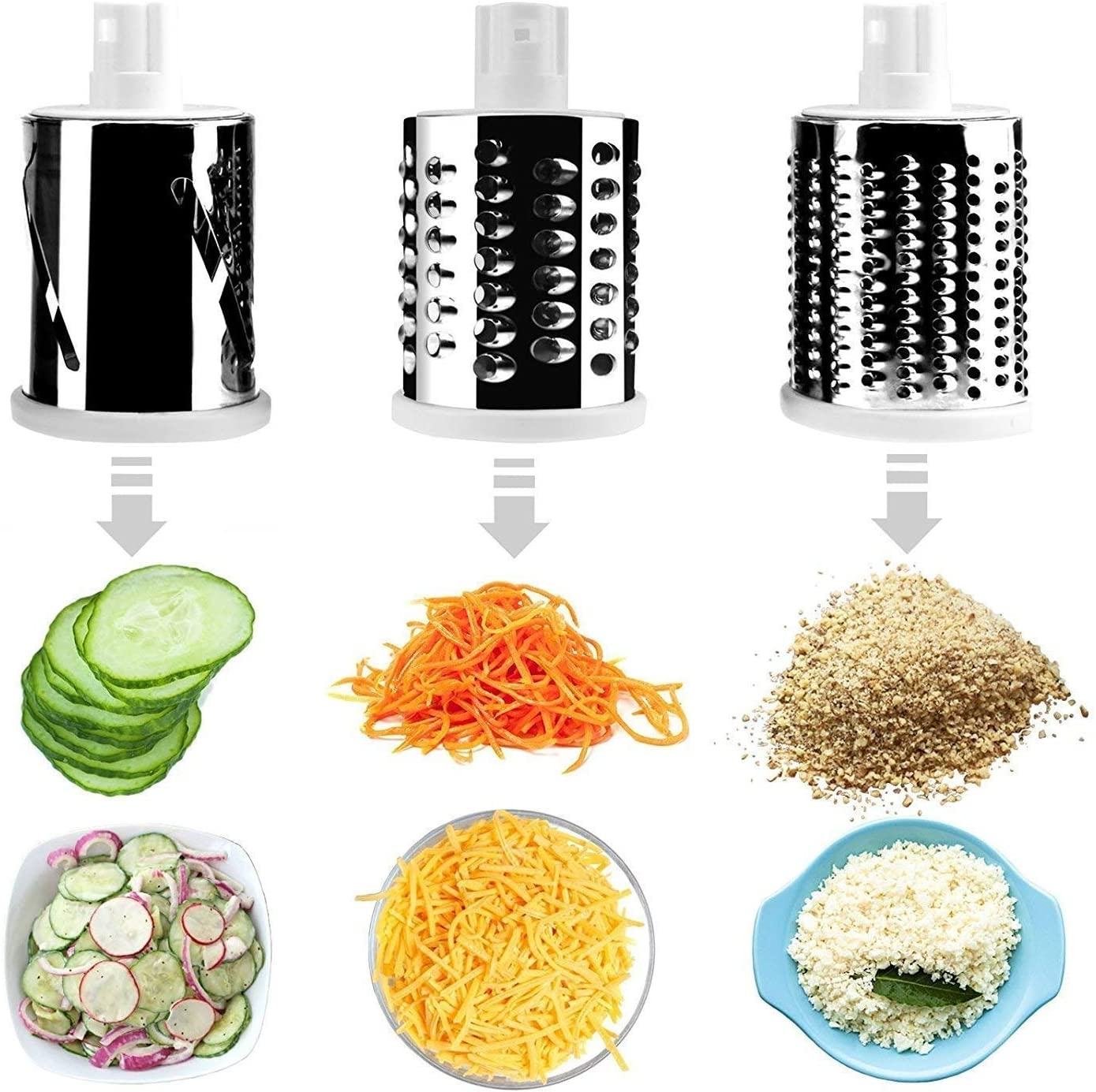 Multi-function vegetable and fruit fast rotating drum cutting machine with 3 stainless steel rotating blades for grinding slicing,red shredding