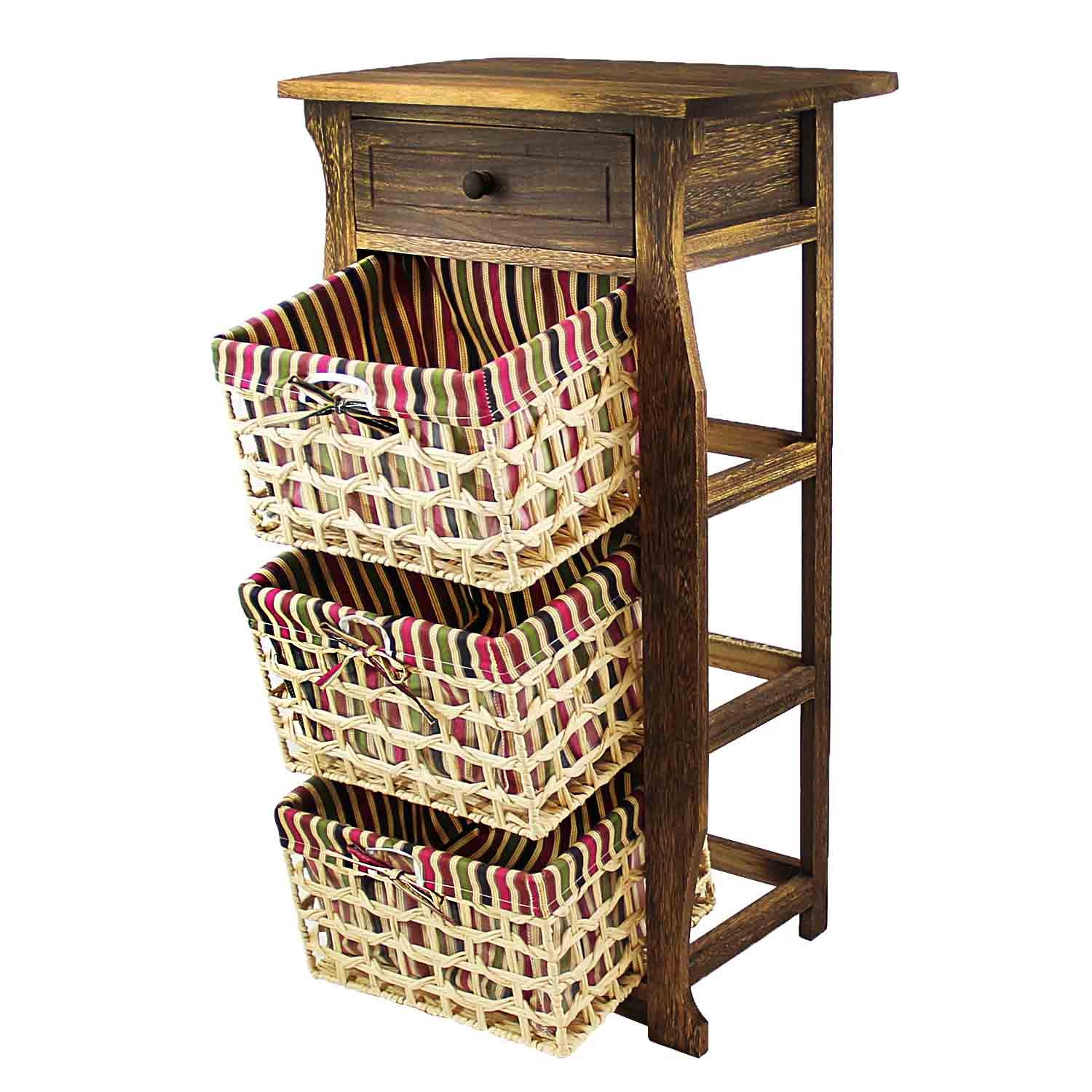 DL-Furniture - Fully Assembled Night Stand With Basket Extra Storage   2 Tier 1 Basket   Finish: Nature
