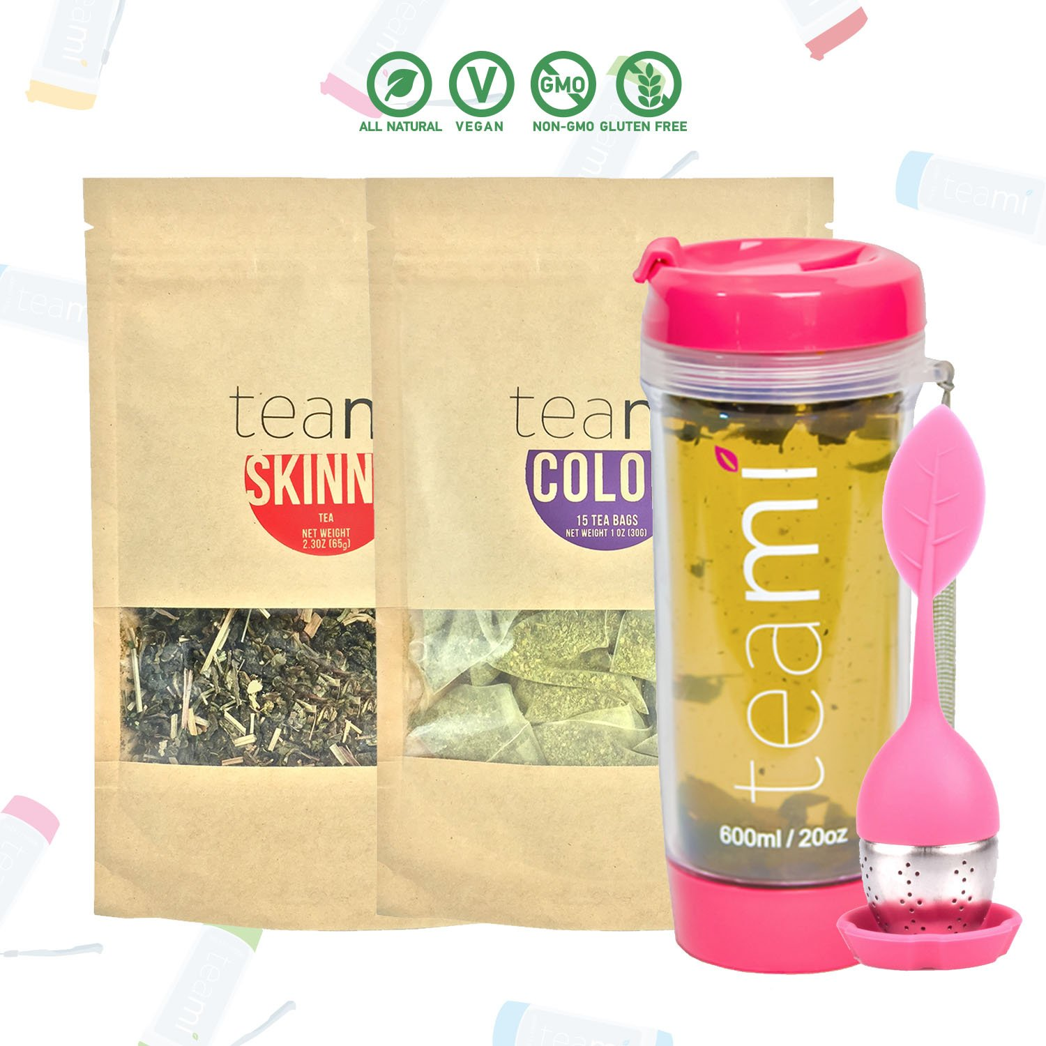 Teami 30-Day Detox Tea Starter Pack All-Natural Teatox Kit with Teami Skinny Teami Colon Cleanse Loose Leaf Herbal Teas w 20oz Pink Tumbler and Infuser