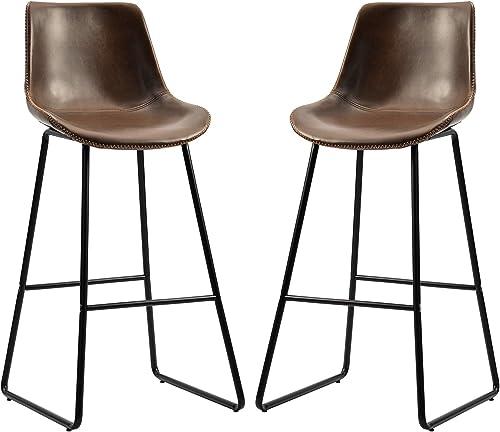 Merax Leather Bar Stools Vintage Barstool