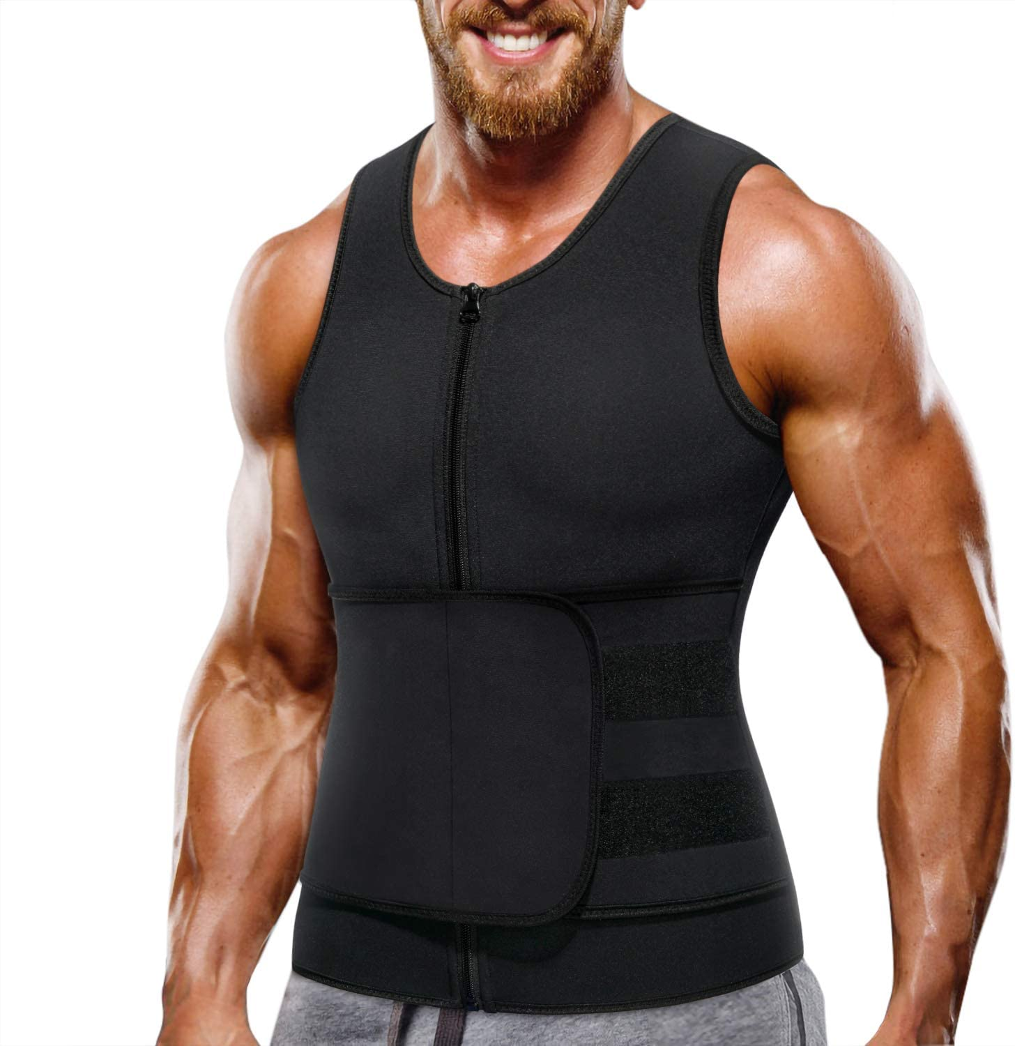 Wonderience Neoprene Sauna Suit for Men Waist Trainer Vest Zipper Body Shaper with Adjustable Tank Top