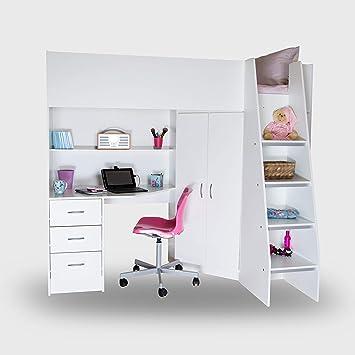 2f9f28157b26 Mrsflatpack HIGH SLEEPER SINGLE CABIN BED CORNWALL HIGH SLEEPER M2100  (White)