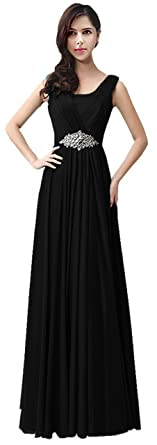 1f5d7f713081 ThaliaDress Women Long Rhinestones Evening Bridesmaid Dresses Prom Gown  T159LF Black US2
