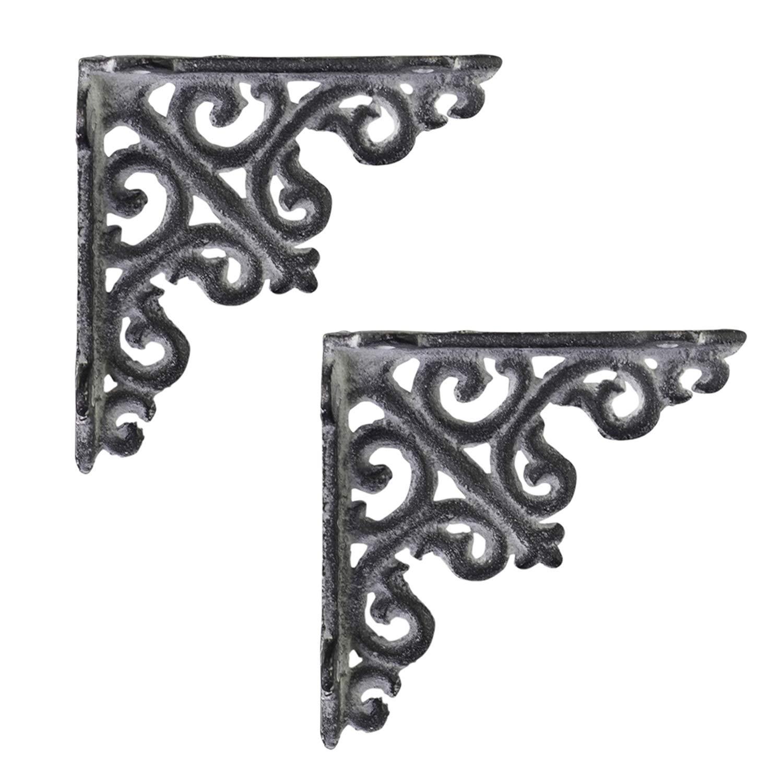 soporte para estanter/ía estilo retro Shabby 10 x 10 cm consola de pared Soporte para estanter/ía color gris