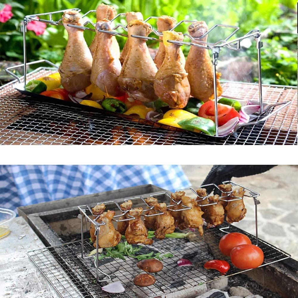MAJFK Chicken Leg Wing Grill Rack 14 Slots BBQ Poultry Chicken Leg Roaster Foldable Stainless Steel Roaster Stand Chicken Drumsticks Rack