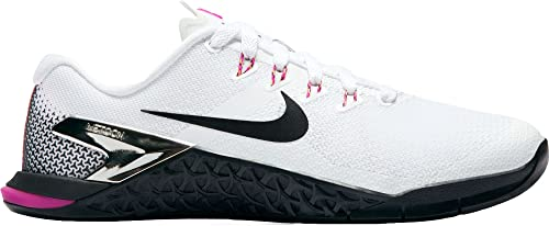 27be6369af3b47 Nike Women's Metcon 4 Training Shoe White/Black Fuchsia Blast Laser Orange  (9.5,