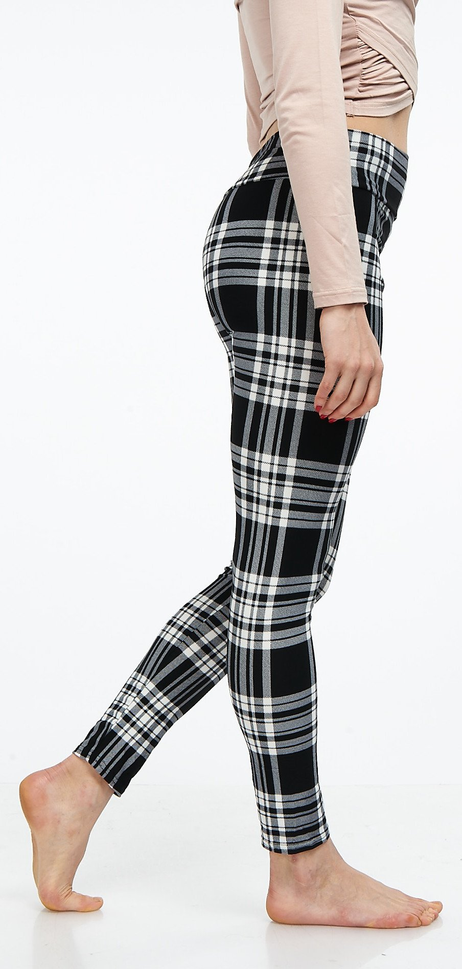 LMB Lush Moda Extra Soft Leggings with Designs- Variety of Prints Yoga Waist - 769YF Black White Plaid B5 by LMB (Image #5)