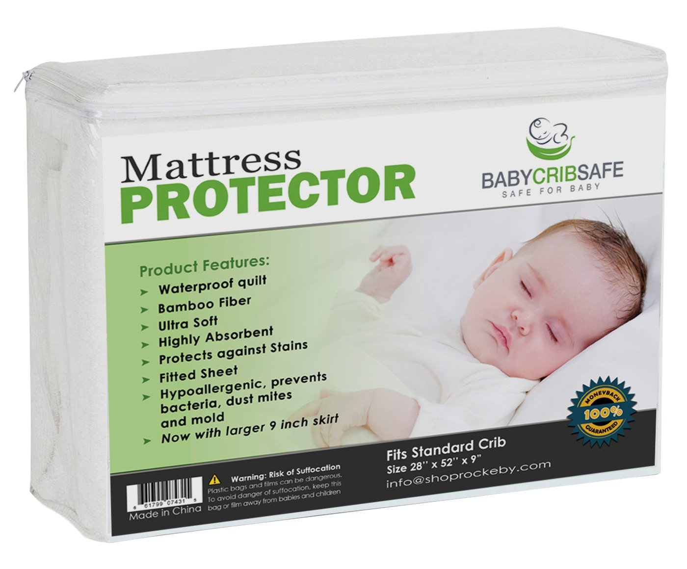 Best Crib Mattress Pad Protector 100% Money Back Guarrantee Large 9 skirt 100% Waterproof Quilted Hypoallergenic Cover is made from Breathable Bamboo Fiber Providing the Softest Touch Stain Resistant Rockeby Road NA