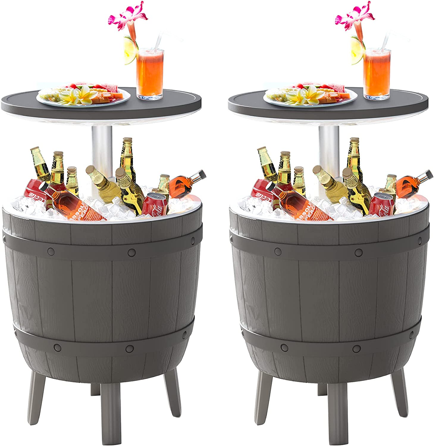 Cozy Castle 2 Sets of Outdoor Bar Table, 3 in 1 Cool Bar, Adjustable Patio Cool Bar, Resin Outdoor Side Table, Outdoor Patio Furniture, Coffee, Beer and Wine Cooler for All-Weather, Backyard Decor