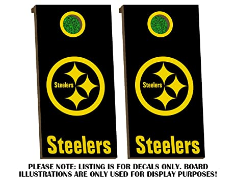 Pittsburgh steelers cornhole board decals golden yellow fit for bean bag toss outdoor game