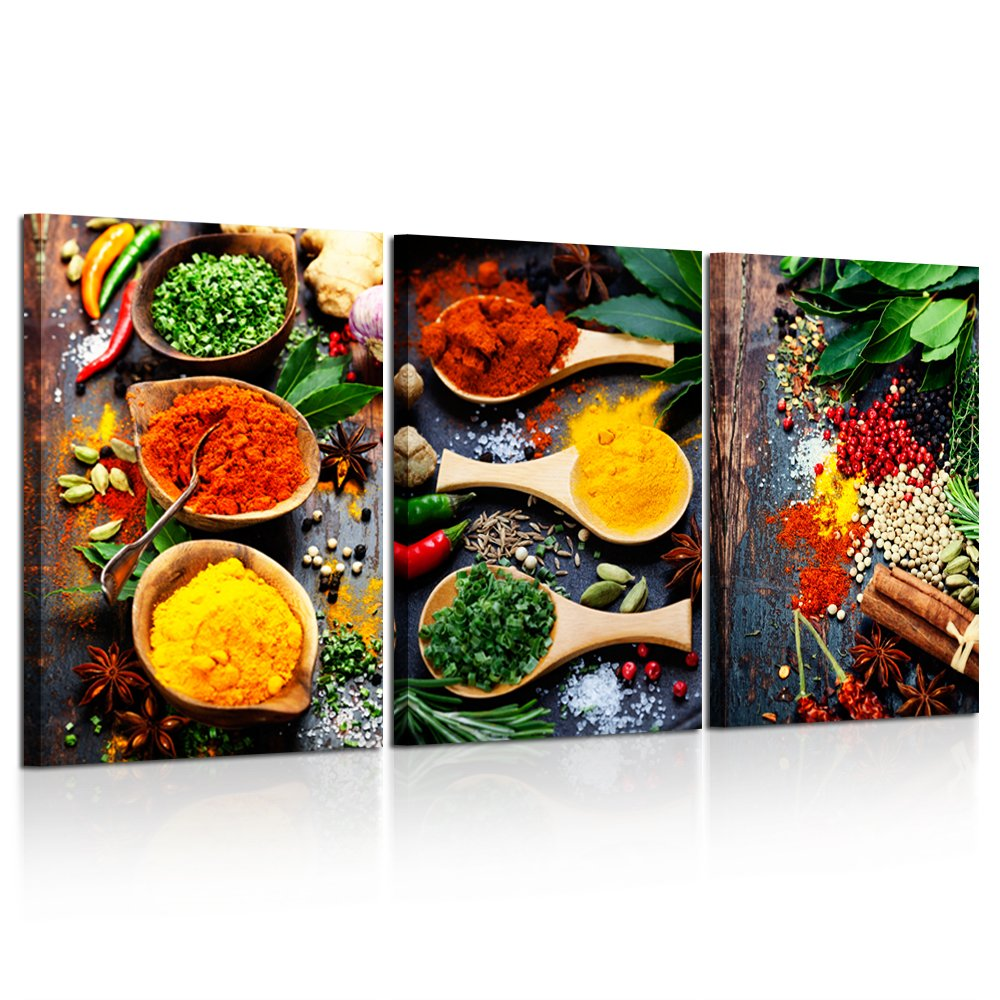 Kreative Arts - Kitchen Pictures Wall Decor 3 Piece Set Canvas Prints Spices and Spoon Vintage Canvas Wall Art Vegetables Paintngs Print on Canvas Framed Ready to Hang for Living Room 16x24inchx3pc