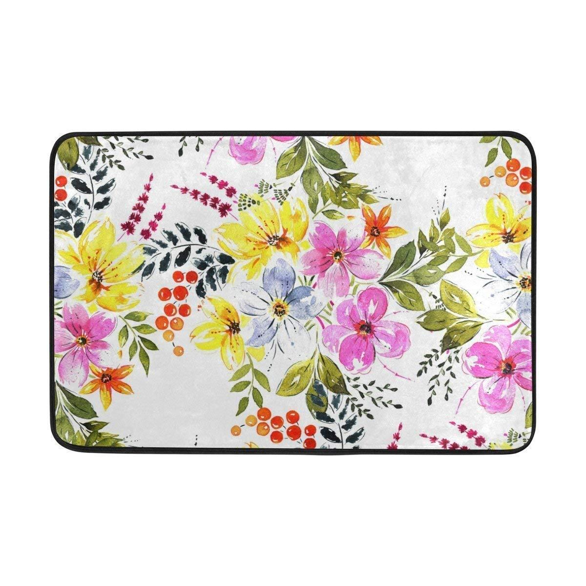 No Soy Como Tu Felpudos Vintage Floral Flowers Spring Summer Oil Painting Doormats Floor Mats Shoe Scraper for Home Indoor Entrance Way Front Door 23.6 by 15.7 Inches 40 x 60 cm