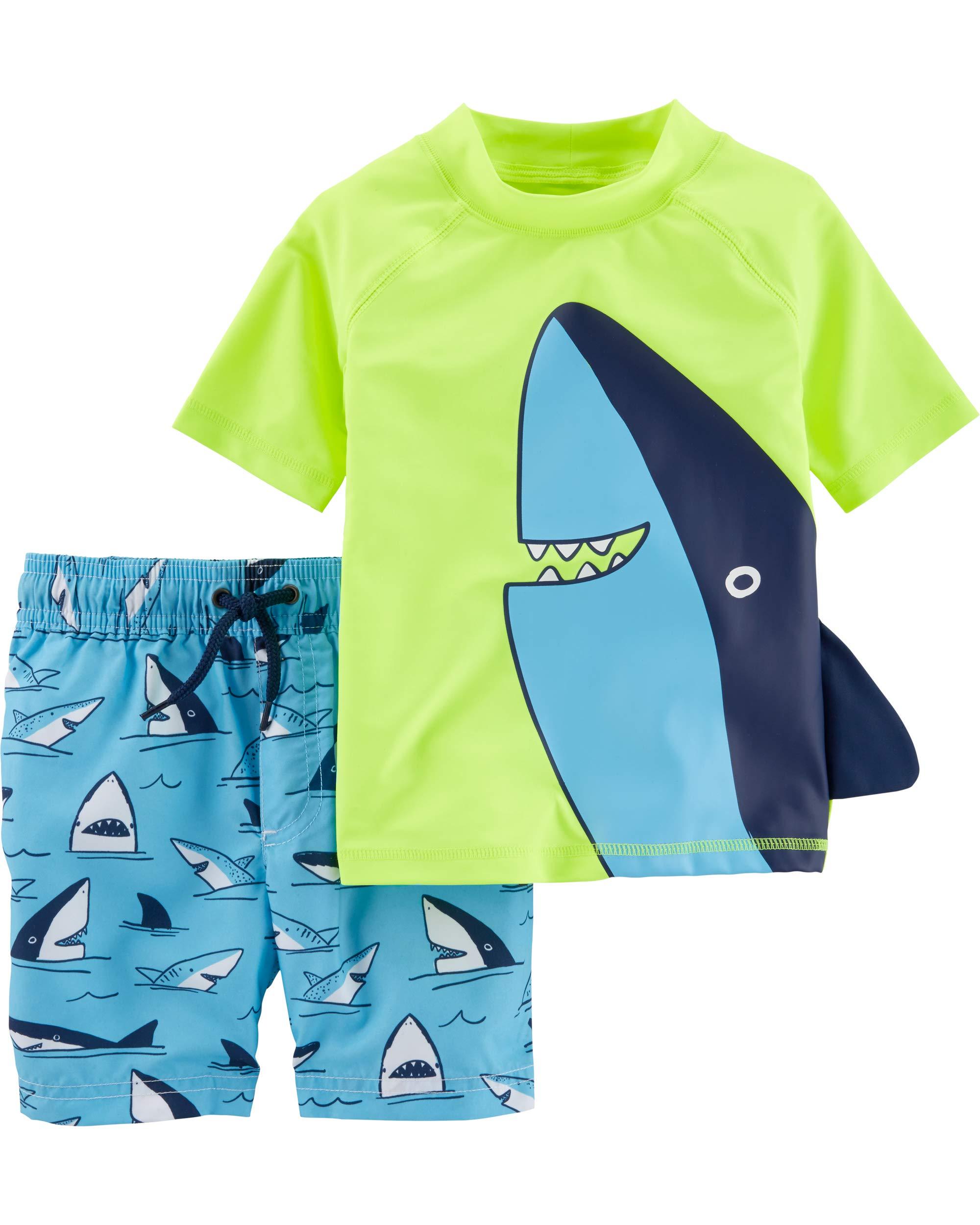 Carter's Baby Boys Rashguard Swim Set, Shark Fin, 9