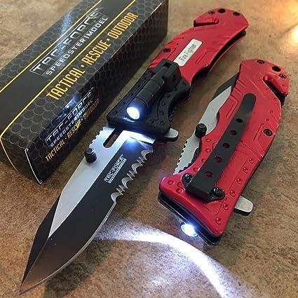 SDN - Cuchillo táctico de bolsillo con muelles, luz LED ...