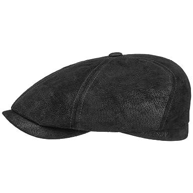09a4f9dee84 Stetson Lanesboro Leather Flat Cap antique  Amazon.co.uk  Clothing