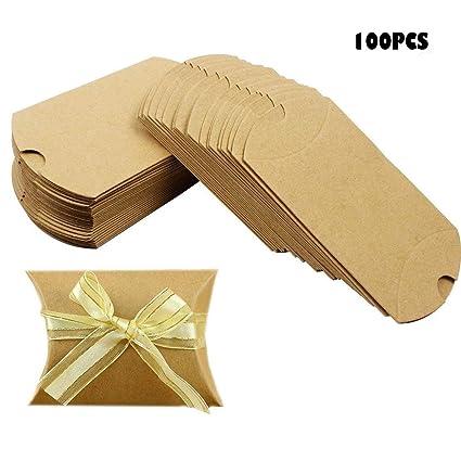 Amazon.com: nextnol 100 piezas de papel Kraft caja de dulces ...