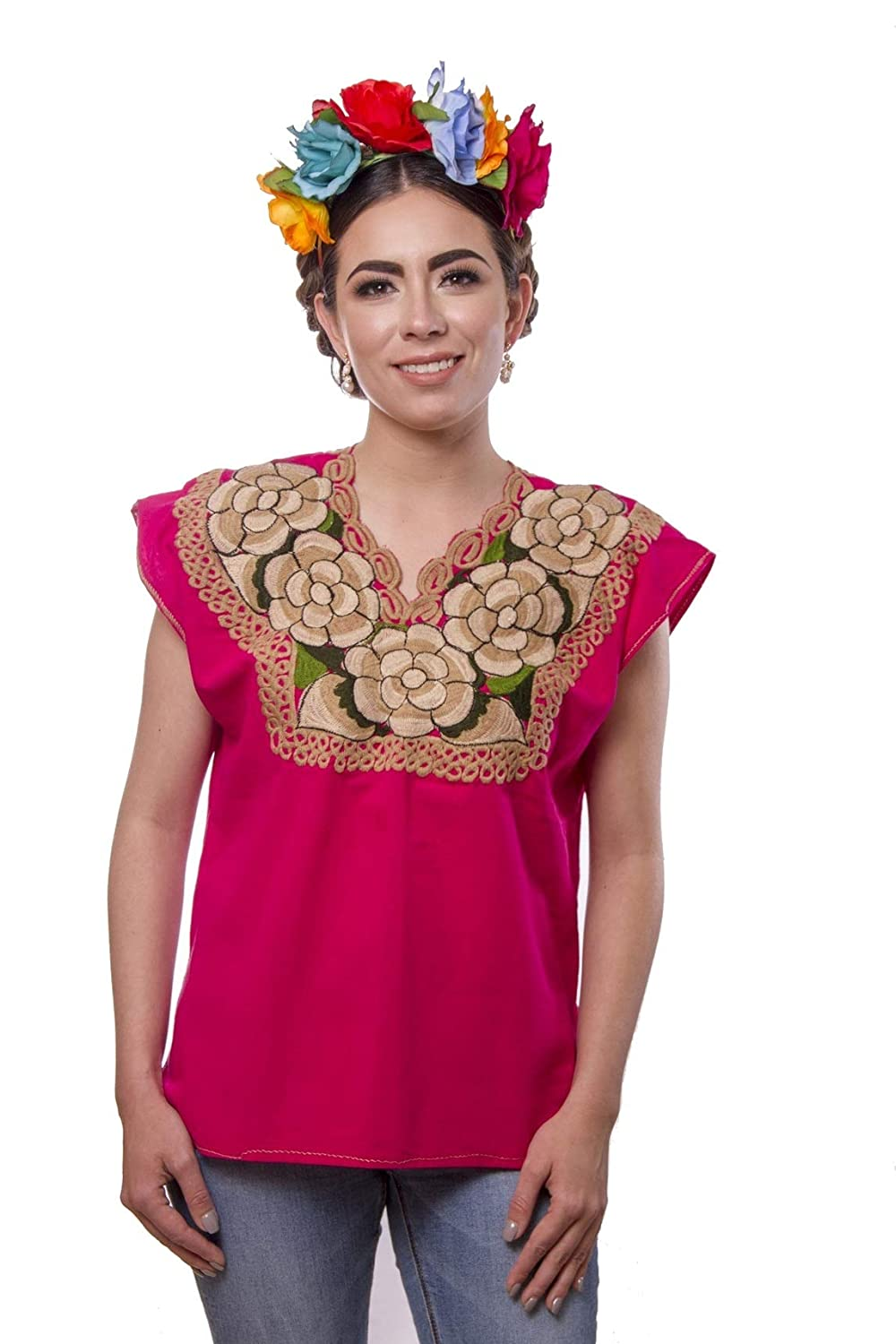 Authentic Embroidered Purple Mexican Chiapas Cotton Tunic Blouse - DeluxeAdultCostumes.com