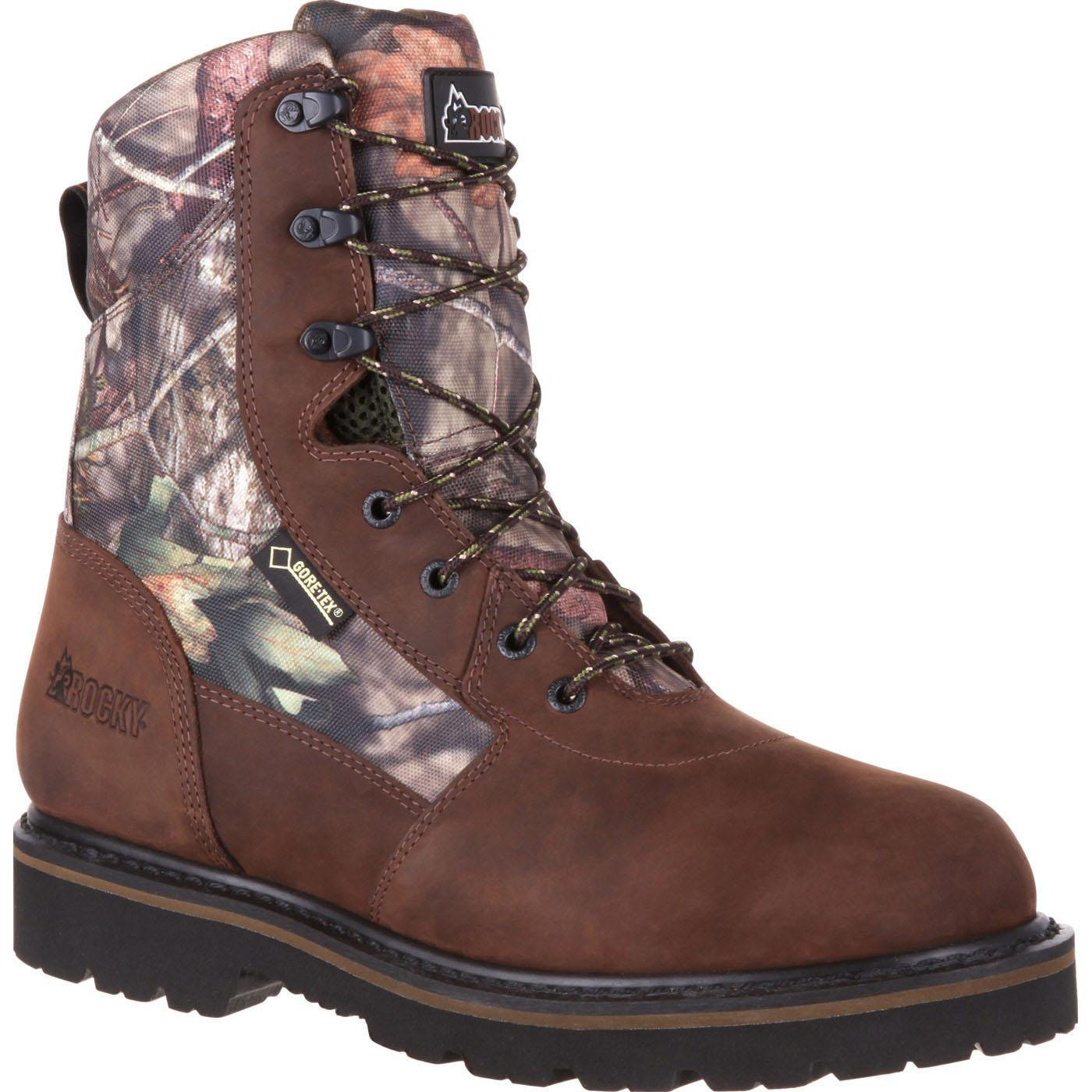 ROCKY Men's RKS0311 Mid Calf Boot, Brown and Mossy Oak Country Camoflauge, 8 M US by ROCKY