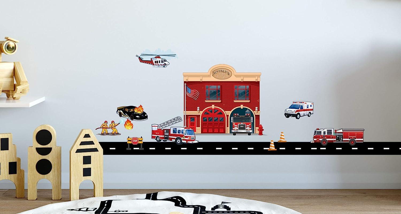 FireFighter City Wall Decal 3D Smashed Decor Art Kids Sticker Vinyl Mural Custom Nursery Gift