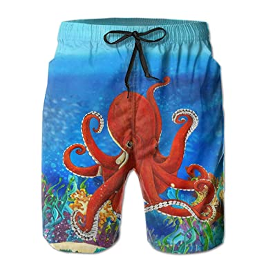 7c8f99d7c4 Image Unavailable. Image not available for. Color: Octopus Ocean Sports Mens  Swim Trunks Boardshorts Beach Shorts ...