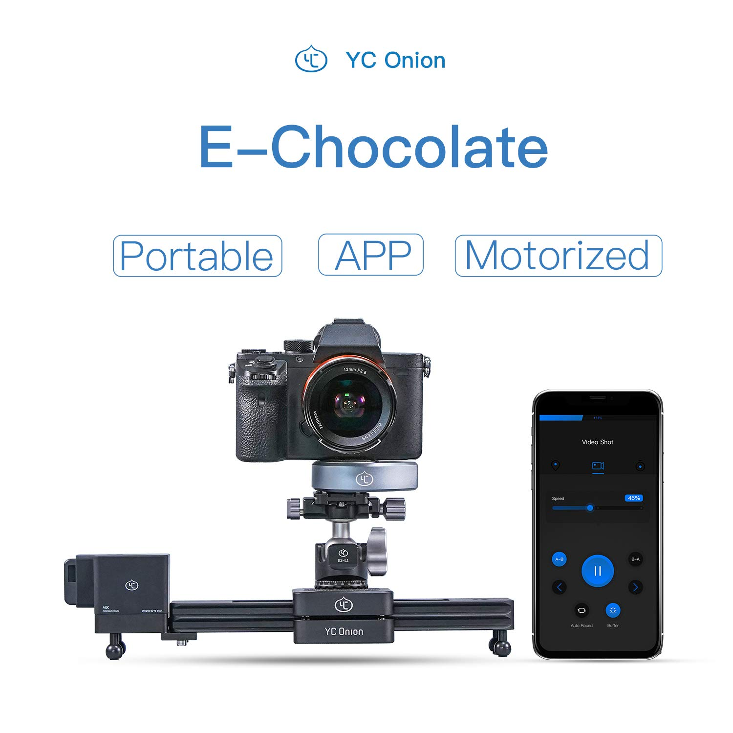 Camera Slider Motorized APP Control Aluminum Alloy Retractable Portable for DSLR Camera Camcorder Smart Phone GoPro 12''/30cm - YC Onion by AKUGE