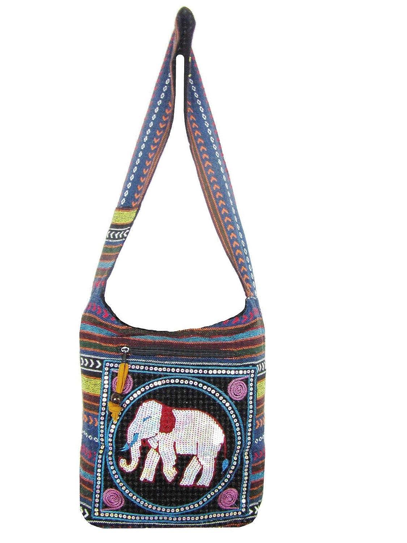 Safari Scarlet Embroidered Elephant Bag Aztec Crossbody Messenger Thai Hippie Boho Shoulder Handbag Medium